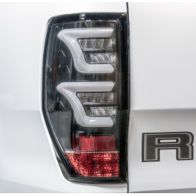 Led Ranger Back Fires - Clear Smoked Glass - Black Background - White Led