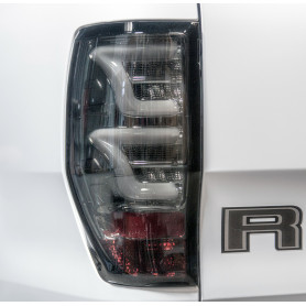 Led Ranger Back Fires - Black Smoked Glass - Black Background - White Led